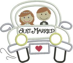 Just Married Getaway Car Boy Embroidery, Applique