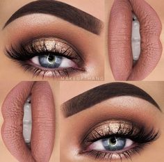 This make-up look is beautiful. - Make Up Tips & How to 2019 Trends - Eye Makeup Neutral Smokey Eye, Neutral Makeup, Nude Makeup, Makeup Inspo, Lip Makeup, Makeup Inspiration, Makeup Ideas, Makeup Tips, Smokey Eye With Gold