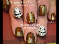 Tartan Nail art With Blinged Out Happy Face