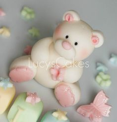 *SUGAR ART ~ teddy bear cake topper christening or birthday by Lucyscakesandtoppers.co.uk, via Flickr