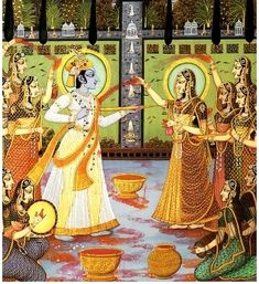 Holi celebration of colors. Krishna and Radha Yashoda Krishna, Radha Krishna Holi, Krishna Leela, Bal Krishna, Radha Krishna Images, Krishna Love, Krishna Art, Radhe Krishna, Radha Rani