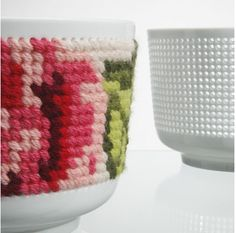 cross stitched ceramic bowl