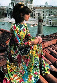 Floral print caftan, Vogue UK December 1966