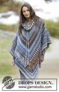 """Crochet DROPS poncho with detachable collar, treble groups and fringes, worked top down in """"Big Delight"""". Size: S - XXXL. ~ DROPS Design"""