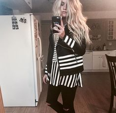 STRIPED LEATHER JACKET || @CHANROBERSON || cute top, peplum, forever21, old navy, blonde, blogger, simple style, outfit idea, easy outfit, black and white, cool style, minimal.