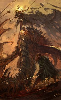 """""""Eowyn and the Nazgul"""" contest by VBagi Keywords: Nazgul, witch king, Dragonrider"""