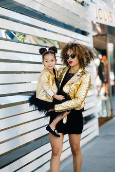 Mom and London in classic black and gold look