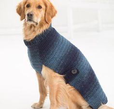 Asta Dog Sweater Crochet Kit by Lion Brand featuring Lion Brand Scarfie Yarn Crochet Dog Sweater Free Pattern, Dog Sweater Pattern, Crochet Shawl, Knitting Patterns Free, Knit Crochet, Free Crochet, Free Knitting, Crochet Sweaters, Large Dog Coats