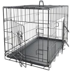 """OxGord 48"""" Dog Crate with Divider, Double-Doors Folding Pet Cage with Heavy Duty Metal Wires and Removable ABS Plastic - Walmart.com"""