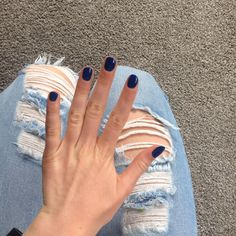 Navy blue nails ||