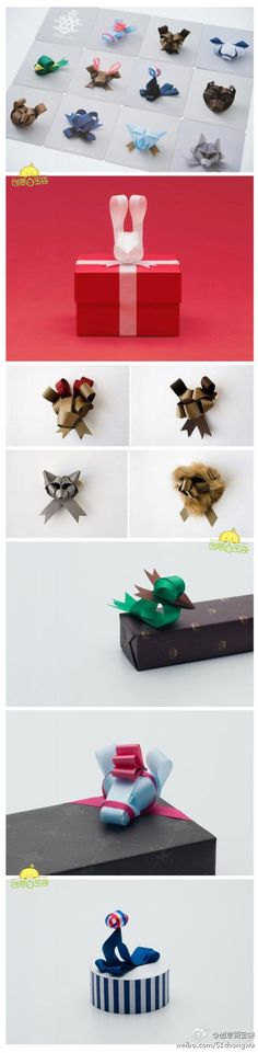 Amazing origami animal bows for presents! Holiday Crafts, Fun Crafts, Diy And Crafts, Bows For Presents, Wrapping Presents, Christmas Presents, Craft Gifts, Diy Gifts, L'art Du Ruban