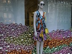 """DIOR,Paris,France, """"Baubles fill the windows at Dior....so chic"""", close-up, pinned by Ton van der Veer"""