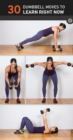 Dumbbell exercises provide a great full-body workout in a compact amount of space. Yes, we said great workout — not just a few decent arm exercises. Read on to de-zombify that workout routine with 30 killer new dumbbell exercises. Workout Hiit, Dumbbell Workout, Fun Workouts, Dumbbell Exercises, At Home Workouts, Body Exercises, Workout Plans, Cycling Workout, Workout Exercises