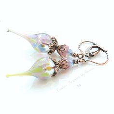 Copper Earrings Lampwork Flower Pods Czech Glass Bell Flowers Swarovski Crystals Flower Earrings Boho Earrings by Ctbydonna on Etsy