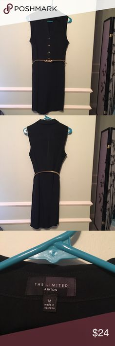 """The Limited Ashton black sleeveless shirt dress The Limited Ashton black sleeveless shirt dress with slim gold belt.  Worn two or three times to work. Like new condition.  100% Polyester.  Length: 38"""". The Limited Dresses"""