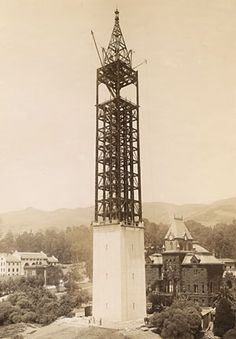 University of California, Berkeley Campanile under construction. In January 1914, the steel frame of the Campanile was finished. Work on installing the stone exterior – here shown only partially complete – began in March of 1914. (Photo courtesy of University Archives/Bancroft Library)