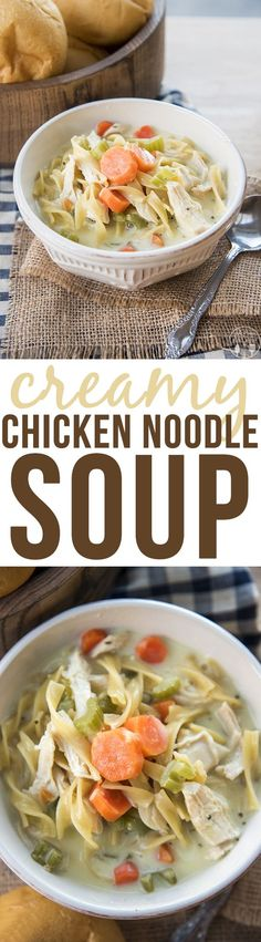 Creamy Chicken Noodle Soup - This creamy chicken noodle soup is packed full of shredded chicken, carrots, celery, onion and egg noodles, with a creamy broth. Its perfectly hearty and comforting!: