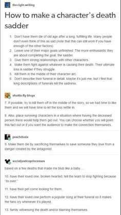 How to Make a Character Death Sadder Book Writing Tips, English Writing Skills, Creative Writing Prompts, Writing Words, Writing Help, Writing Ideas, Make A Character, Character Ideas, Writing Promts