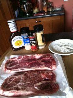 """Slow Cooker BBQ Pork Steak and """"Baked"""" Potatoes – Pigtails and Pork Chops Pork Steak Recipe Crock Pot, Crockpot Pork Steaks, Pork Butt Steak Recipes, Pork Shoulder Steak, Pork Recipes, Baked Pork Steaks Oven, Cooking Pork Steaks, Gastronomia, Recipes"""