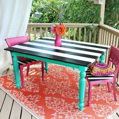 Outdoor table makeover with Americana Decor Outdoor Living Paints from DecoArt! - Patio Table - Ideas of Patio Table Funky Furniture, Outdoor Tables, Americana Decor, Furniture Makeover, Diy Patio Table, Table Makeover, Diy Patio, Outdoor Patio Table, Painted Furniture