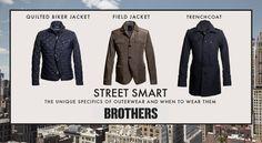 Kattava valikoima kevättakkeja, kuvan takit 179 - 269€. Brothers, 1.krs.