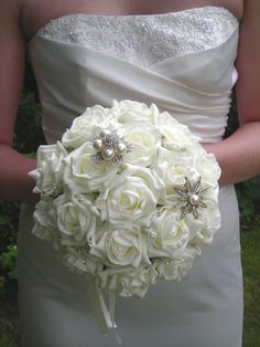 Brooch Wedding Bouquet Rose Diamante Bride Bridesmaid Flowers Posy Foam
