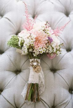 Wedding Floral Boquet - love the lace used to tie it up