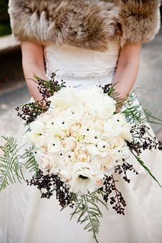 all white winter wedding bouquet Inspiration: Winter Wedding Flowers