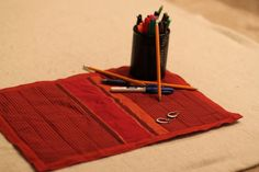 Striped Table Mat by HandmadeBySheetaluk on Etsy