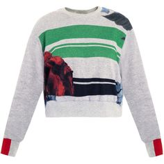 Preen Poppy stripe cropped sweat top ($534) ❤ liked on Polyvore