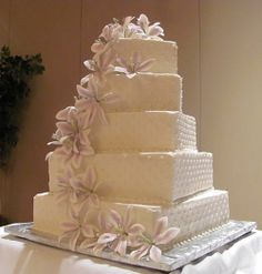 Square Buttercream Basketweave — Wedding Cakes
