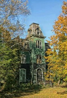 Dilapidated abandoned green mansion in upstate New York. Old Abandoned Buildings, Abandoned Property, Old Buildings, Abandoned Places, Abandoned Castles, Spooky Places, Haunted Places, Old Mansions, Abandoned Mansions
