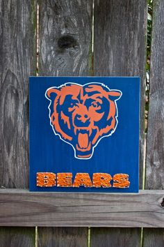 Chicago Bears Wall Art chicago bears - wooden string art wall decoration | csb creations