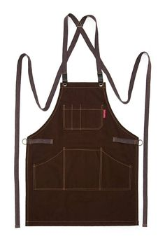 Essential Cross-Back Apron Chocolate Brown Twill Brown