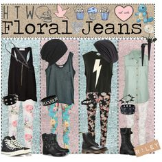 """✿HTW: Floral Jeans! ~REQUEST~"" by tips-tips-tipss on Polyvore"