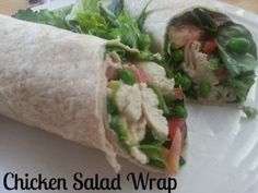 Chicken Salad Wrap What you need…  --- 4 ounces cooked chicken (cubed)  --- ¼ cup baby spinach  --- 2 tablespoons tomatoes (cubed)  --- 2 tablespoons frozen peas  --- 1 tablespoon light ranch salad dressing  --- What to do…  Combine chicken, spinach, tomatoes, peas and dressing.  Wrap in a whole-wheat tortilla.  Enjoy.