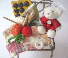 Crafting Bear Chair Vignette by AllAboutTheButtons on Etsy, $24.00