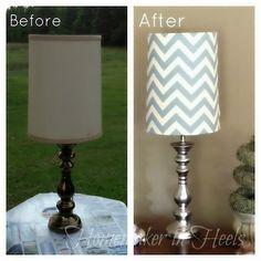 "Chevron & ""Mercury Glass"" Lamp Makeover"