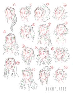 Kimmys art — These are various character exploration pieces. Hair Reference, Drawing Reference Poses, Drawing Tips, Drawing Ideas, Anime Drawings Sketches, Cute Drawings, Drawings Of Hair, Anime Hair Drawing, Hair Styles Drawing