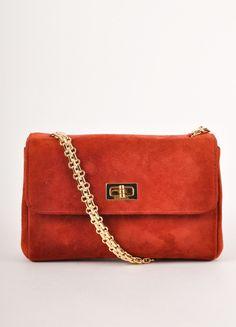 Red Suede Flap Turnlock Shoulder Bag