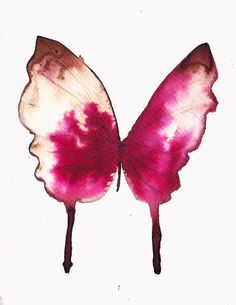 Spring SALE cherry red butterfly. original watercolour by AMOMA, £20.00