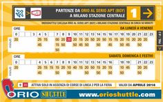 New timetable Line 1 Orio al Serio APT > Milan Central Station (from 1st April 2014)