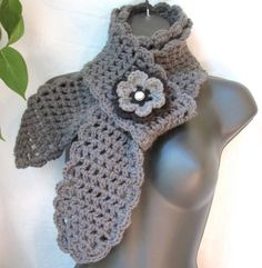 Crochet Scarf Charcoal Grey Womens Gifts for by JadeExpressions