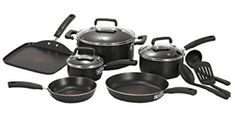 T-fal Signature Nonstick Dishwasher Safe Cookware Set, Nonstick Pots and Pans Set, Thermo-Spot Heat Indicator, 12 Piece, Black Safest Cookware, Cookware Set, Stainless Steel Dishwasher, Clean Dishwasher, Best Non Stick Cookware, Pots And Pans Sets, Pan Set, Glass Ceramic, Best Christmas Gifts