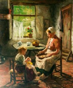 Feeding The Doll Evert Pieters (1856 - 1932, Dutch)