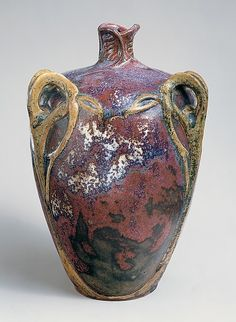 Edmond Lachenal vase, French, Art Nouveau, c. 1900-05, manufactured by Emile Decoeur, 10.75 in.