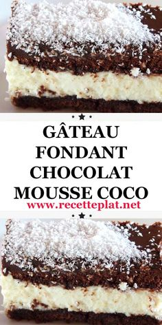 Discover recipes, home ideas, style inspiration and other ideas to try. Fall Dessert Recipes, Easy Cake Recipes, Vegan Desserts, Chocolate Candy Recipes, Bakers Chocolate, Coconut Chocolate, Deutsche Desserts, Mousse Coco, Easy Cooking