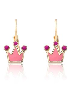 Loving this Little Miss Twin Stars Vermeil Pink Crown Leverback Earrings on #zulily! #zulilyfinds