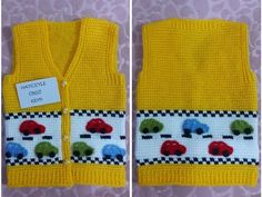 Tunisian Handwork Car Decorated Child / Baby Vest Pre-Made Years Old & . Knitted Baby Cardigan, Crochet Baby Booties, Knit Vest, Baby Kids, Baby Boy, Child Baby, Bridal Car, Baby Album, Baby Vest