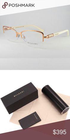 07c56a97210b BVLGARI Eyewear BVLGARI Rose Gold Half Rim Frame with Rose Gold Rhinestone   amp  Ivory Arms